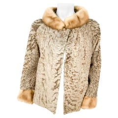 1960s Taffy-Colored Broadtail Sheep Jacket with Mink Trim