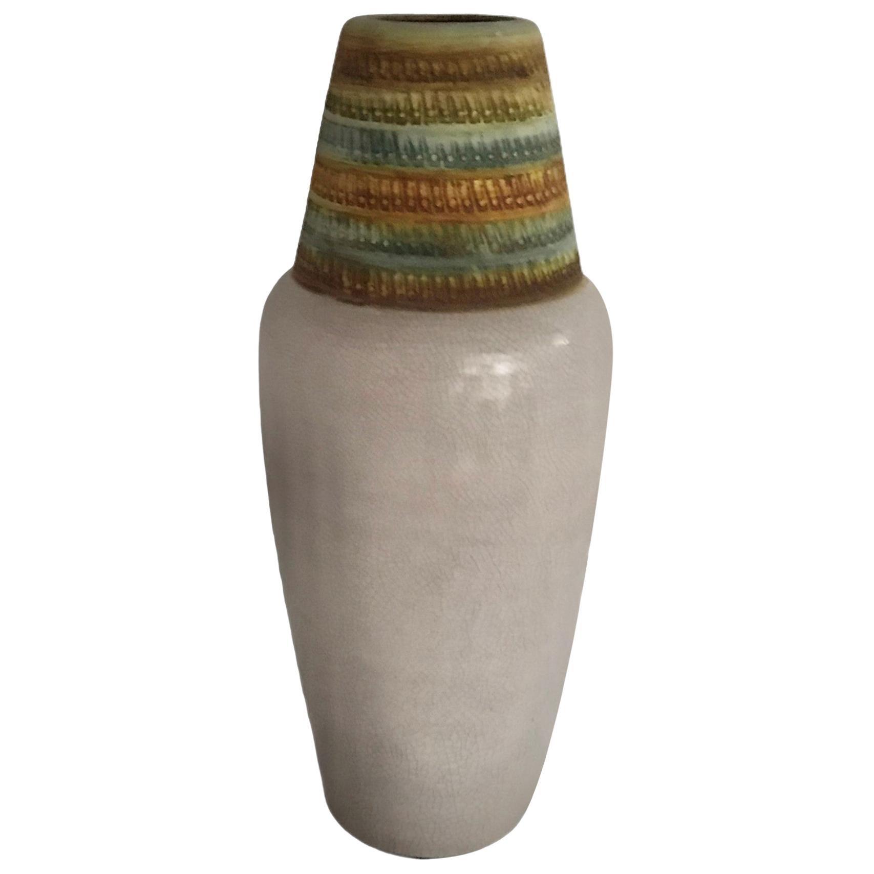 1960s Tall Alvino Bagni Italian Modern Ceramic Vase for Bitossi