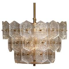 1960s Tall Brass Chandelier Filled with Clear Art Glass by Kinkeldey, Germany