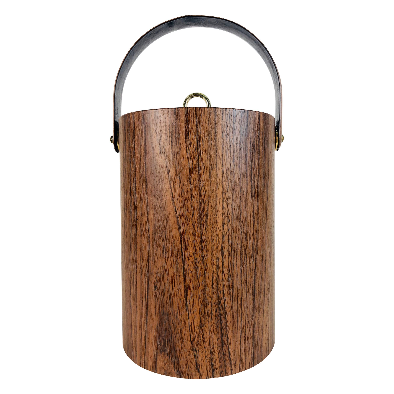 1960s Tall Vinyl Faux-Wood Handled Ice Bucket