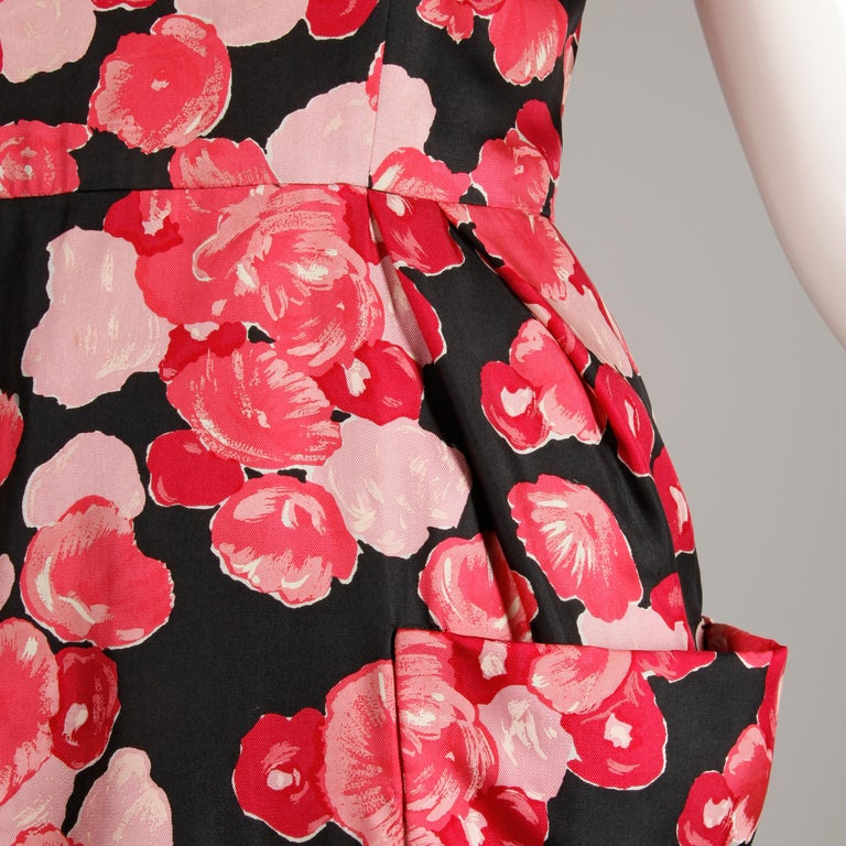 Women's 1960s Talmack by John Moore Vintage Red Pink and Black Floral Print Silk Dress For Sale