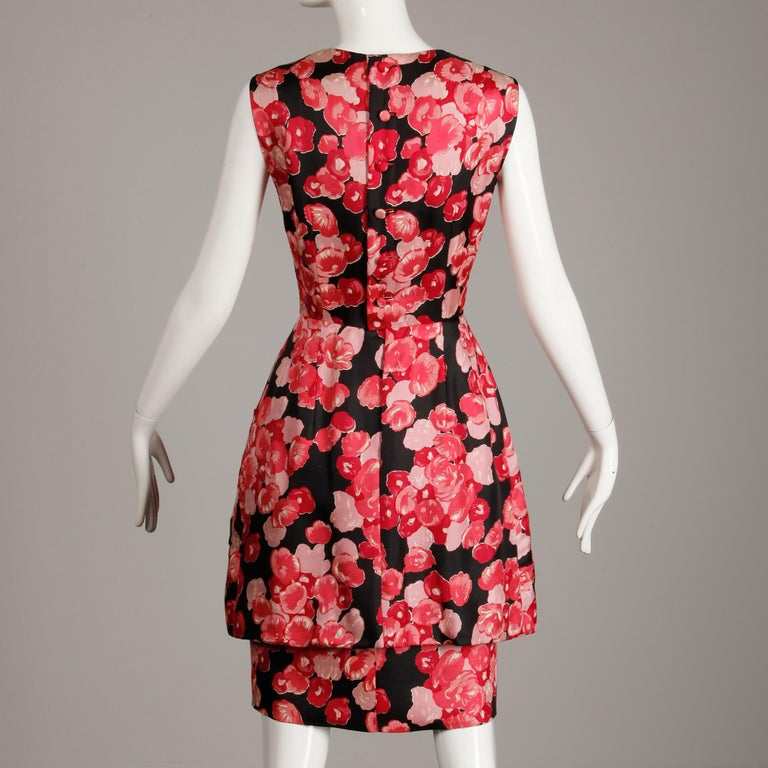 1960s Talmack by John Moore Vintage Red Pink and Black Floral Print Silk Dress For Sale 1