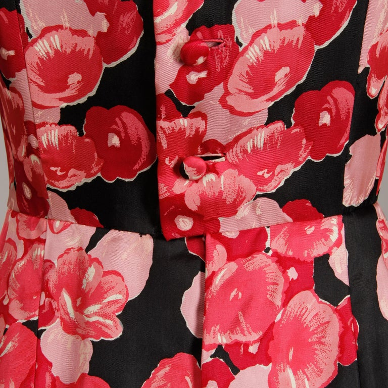 1960s Talmack by John Moore Vintage Red Pink and Black Floral Print Silk Dress For Sale 2