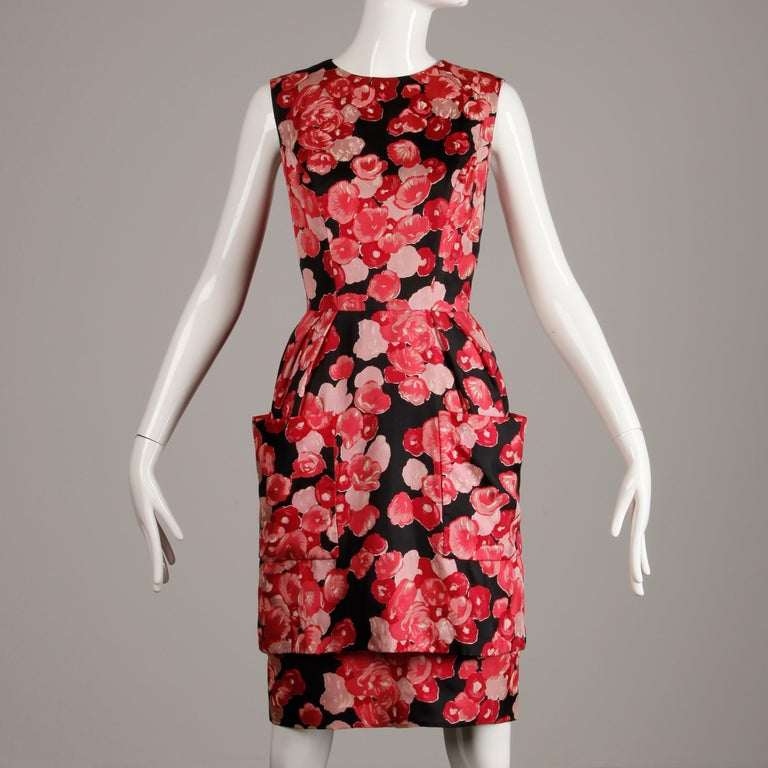 1960s Talmack by John Moore Vintage Red Pink and Black Floral Print Silk Dress For Sale 3