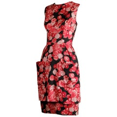 1960s Talmack by John Moore Vintage Red Pink and Black Floral Print Silk Dress