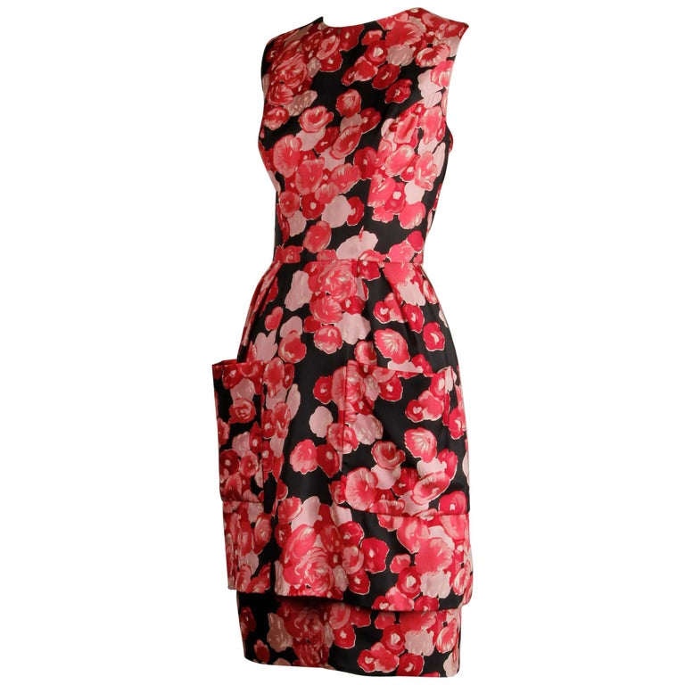 1960s Talmack by John Moore Vintage Red Pink and Black Floral Print Silk Dress For Sale