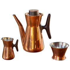 1960s Tapio Wirkkala Copper and Silver Coffee Set for Kultakeskus Oy