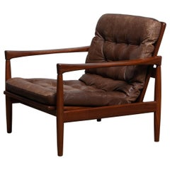 1960s, Teak and Brown Leather Lounge Chair by Erik Wörtz for Broderna Anderssons