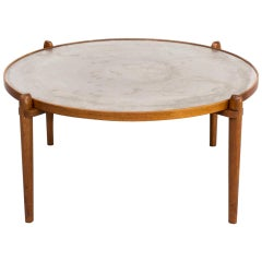 1960s Teak and Etched Metal Coffee Table by Heinz Lilienthal