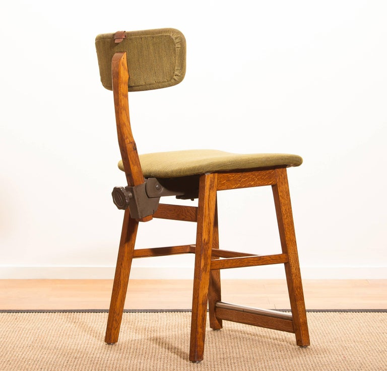 Swedish 1960s, Teak and Wool Desk Chair by Âtvidabergs Sweden For Sale