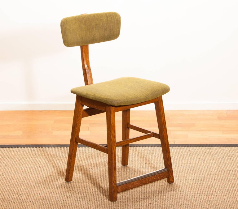 Mid-20th Century 1960s, Teak and Wool Desk Chair by Âtvidabergs Sweden For Sale