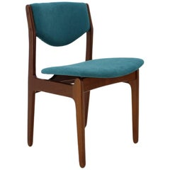 1960s Teak Blue Side Chair, Denmark