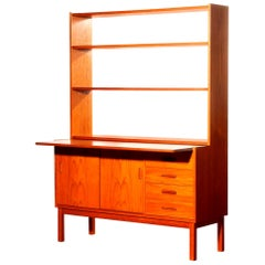 1960s, Teak Bookcase with Slid Able Writing or Working Space from Sweden