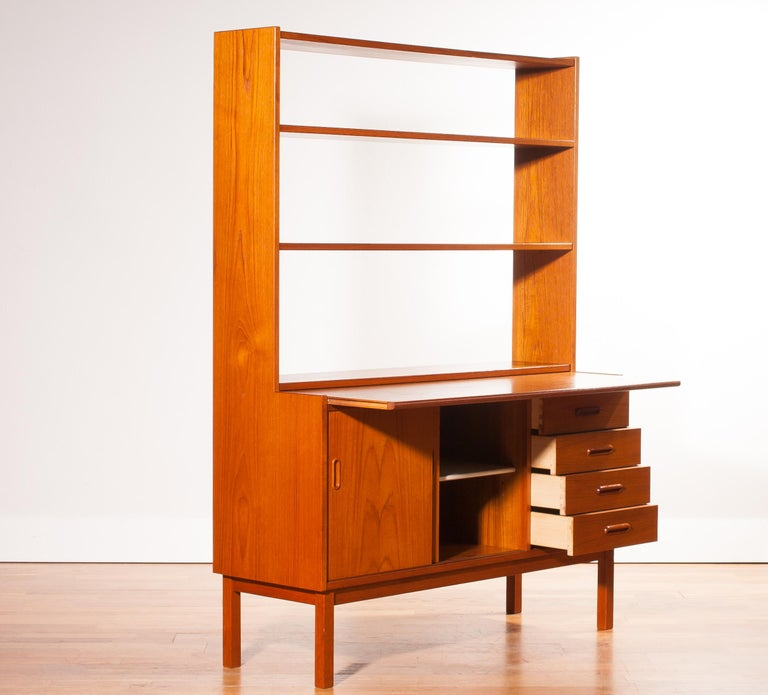 1960s, Teak Bookcase with Slidable Writing or Working Space from Sweden 5