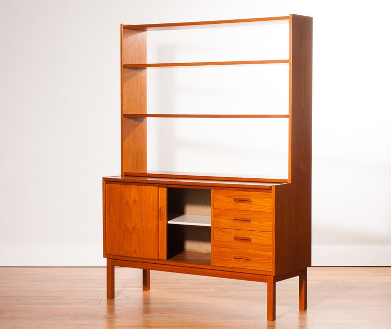 1960s, Teak Bookcase with Slidable Writing or Working Space from Sweden 1