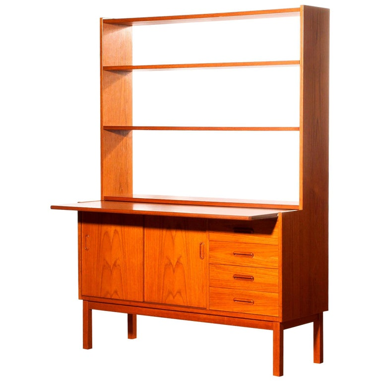 1960s, Teak Bookcase with Slidable Writing or Working Space from Sweden