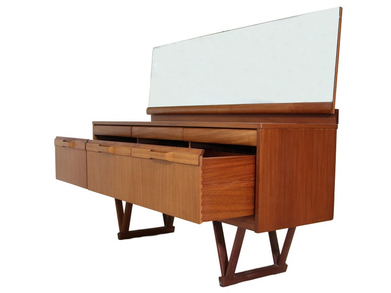 English 1960s Teak Dresser or Credenza with Mirror