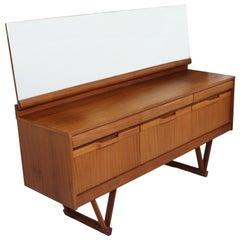 1960s Teak Dresser or Credenza with Mirror