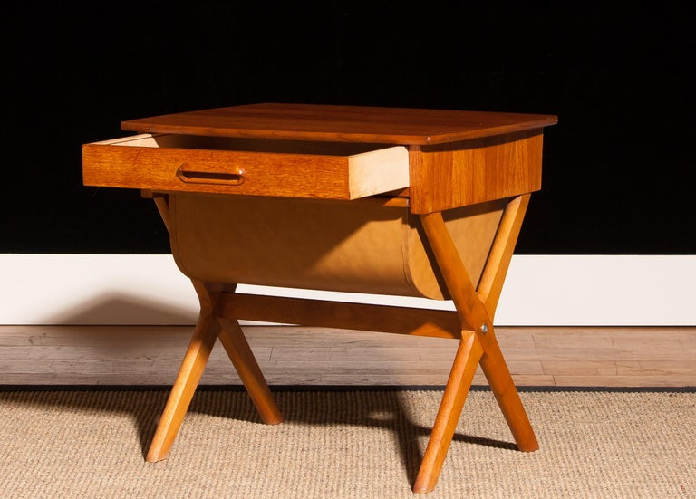 Swedish 1960s, Teak Sewing, Side Table from Sweden For Sale