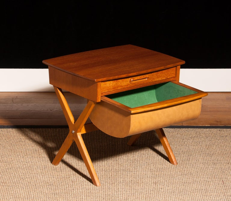 Mid-20th Century 1960s, Teak Sewing, Side Table from Sweden For Sale