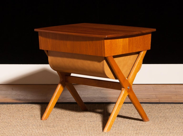 1960s, Teak Sewing, Side Table from Sweden For Sale 1