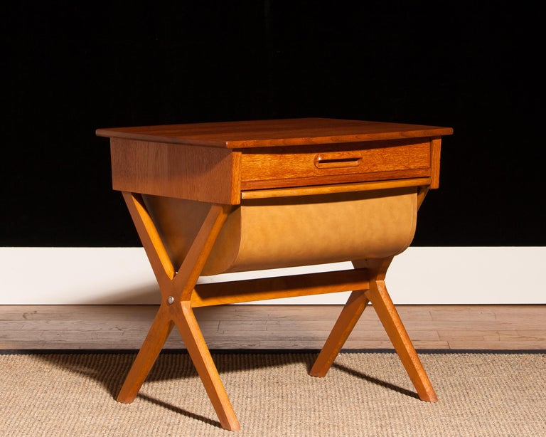 1960s, Teak Sewing, Side Table from Sweden For Sale 4