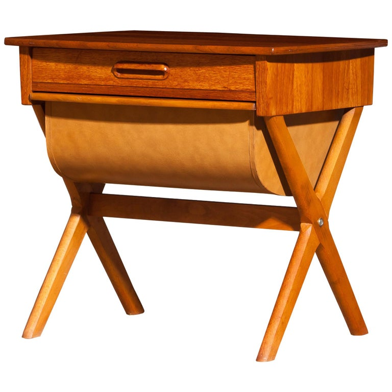 1960s, Teak Sewing, Side Table from Sweden For Sale
