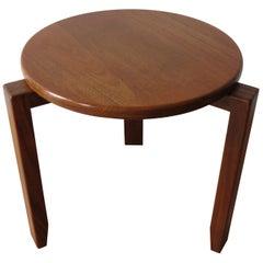 1960s Teak Small Round Three-Legged Table Fingerjoint Detail