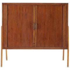 1960s Teak Tambour Doors Record Cabinet, Denmark