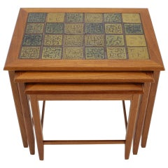 1960s Teak/Tile Nesting Tables, Denmark, 3 Pieces
