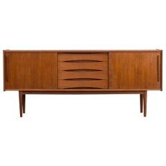1960s Teak Veneer Sideboard 4 Drawers 2 Sliding Doors