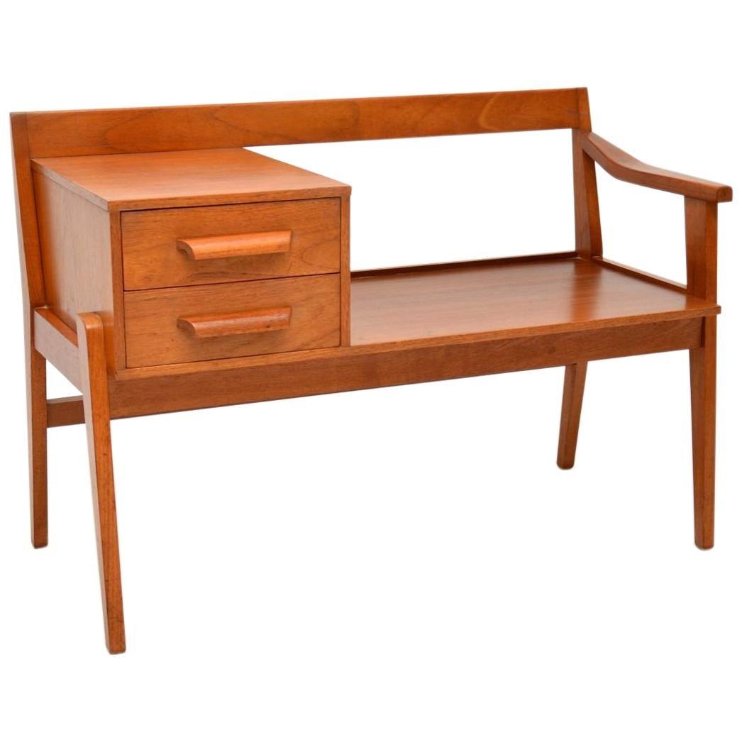 1960\u2019s Teak Vintage Telephone Bench / Side Table