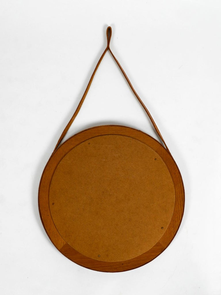 1960s Teak Wall Mirror with Leather Strap Made in Denmark For Sale 5