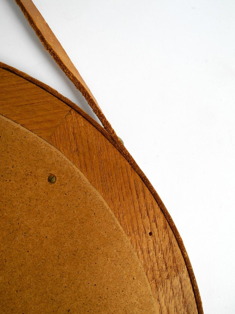 1960s Teak Wall Mirror with Leather Strap Made in Denmark For Sale 6