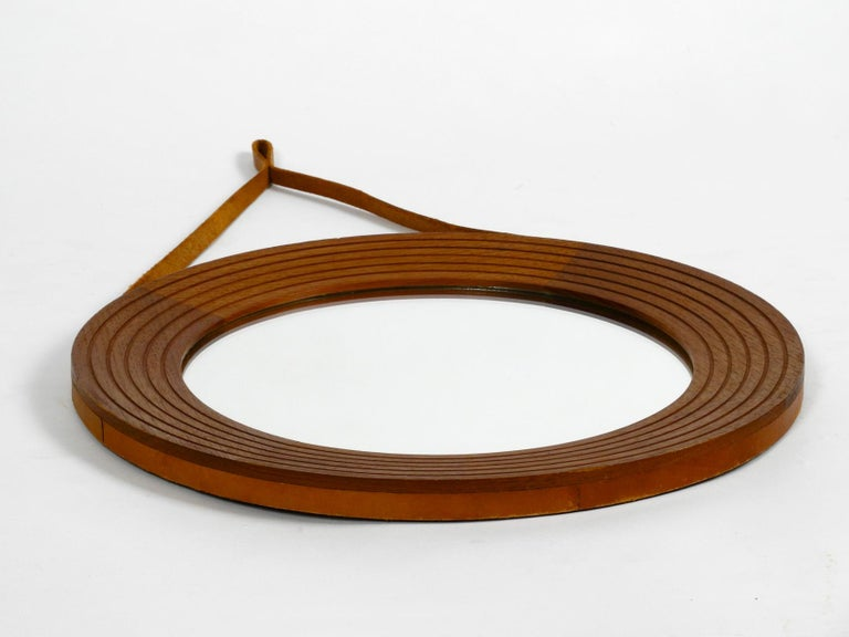 1960s Teak Wall Mirror with Leather Strap Made in Denmark In Good Condition For Sale In München, DE