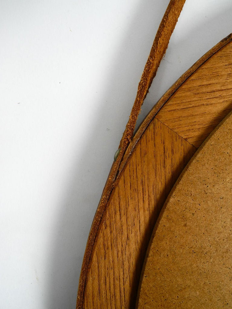 1960s Teak Wall Mirror with Leather Strap Made in Denmark For Sale 3