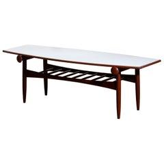 1960s, Teak Walnut Reversible Ellipse Surfboard Coffee Table, Italy