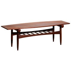 1960s Teak Walnut Reversible Ellipse Surfboard Coffee Table with Magazine Rack