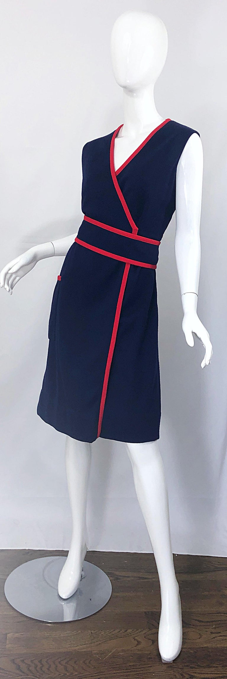 1960s Teal Traina Large Size Nautical Navy Blue Red Vintage 60s Wool Wrap Dress For Sale 6