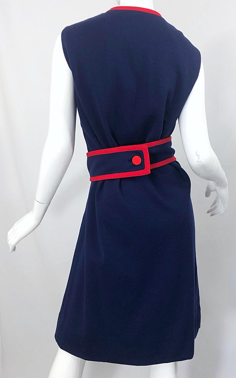 1960s Teal Traina Large Size Nautical Navy Blue Red Vintage 60s Wool Wrap Dress For Sale 7