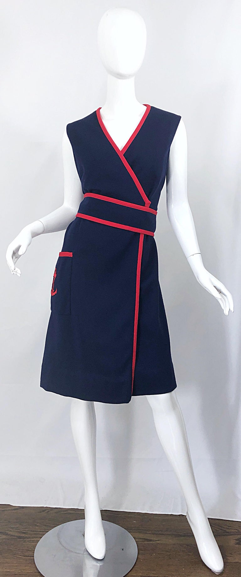 1960s Teal Traina Large Size Nautical Navy Blue Red Vintage 60s Wool Wrap Dress For Sale 8