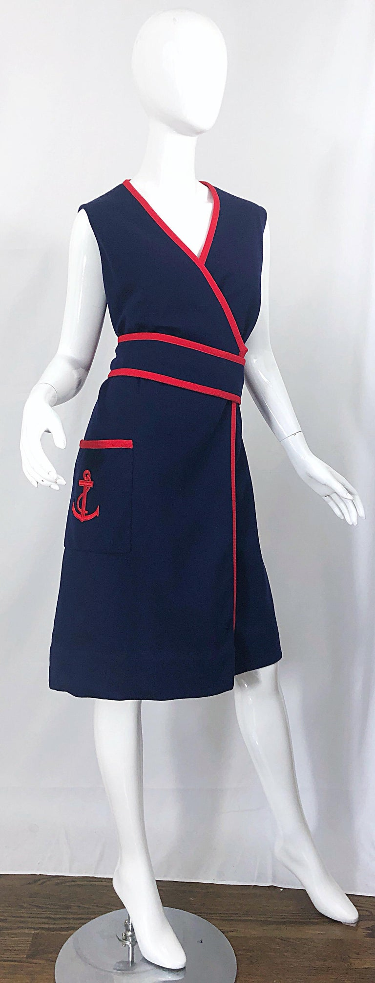 1960s Teal Traina Large Size Nautical Navy Blue Red Vintage 60s Wool Wrap Dress For Sale 9
