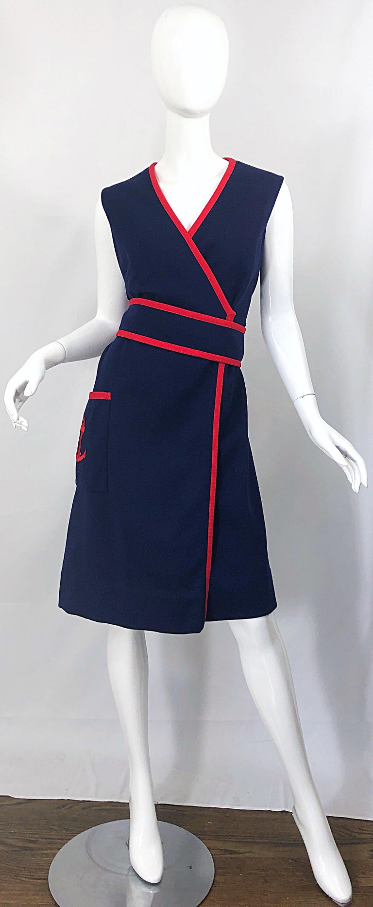 Black 1960s Teal Traina Large Size Nautical Navy Blue Red Vintage 60s Wool Wrap Dress For Sale