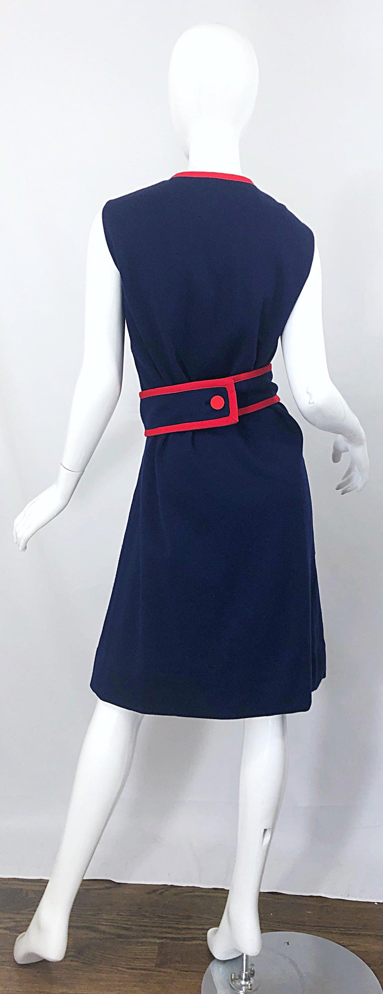 1960s Teal Traina Large Size Nautical Navy Blue Red Vintage 60s Wool Wrap Dress In Good Condition For Sale In Chicago, IL