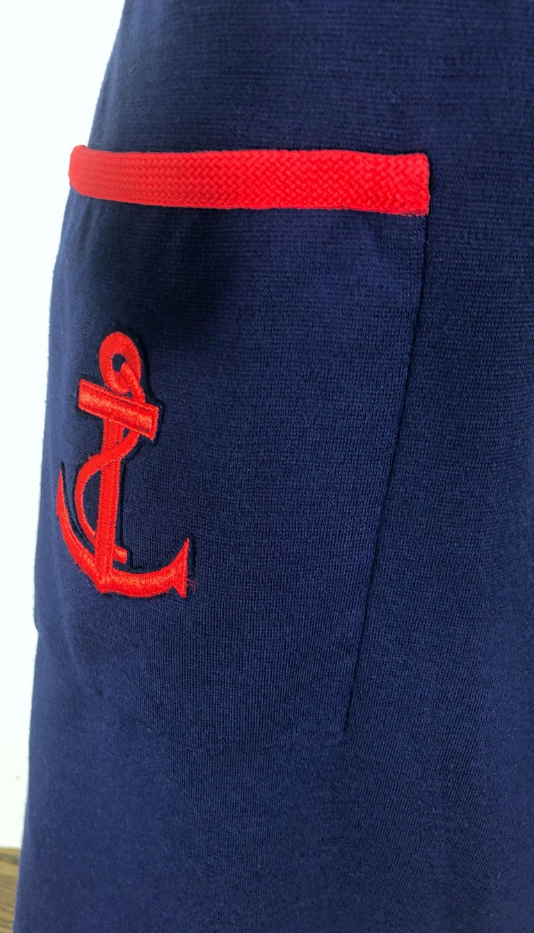 1960s Teal Traina Large Size Nautical Navy Blue Red Vintage 60s Wool Wrap Dress For Sale 1