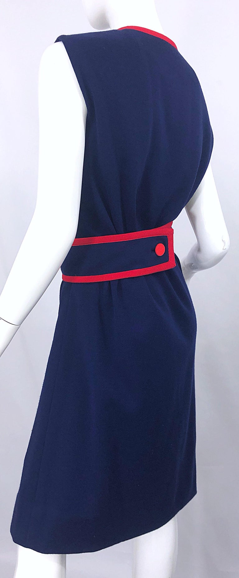 1960s Teal Traina Large Size Nautical Navy Blue Red Vintage 60s Wool Wrap Dress For Sale 3