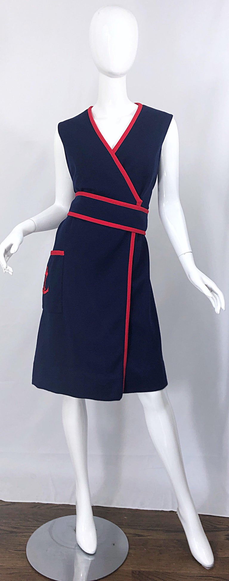 1960s Teal Traina Large Size Nautical Navy Blue Red Vintage 60s Wool Wrap Dress For Sale 4