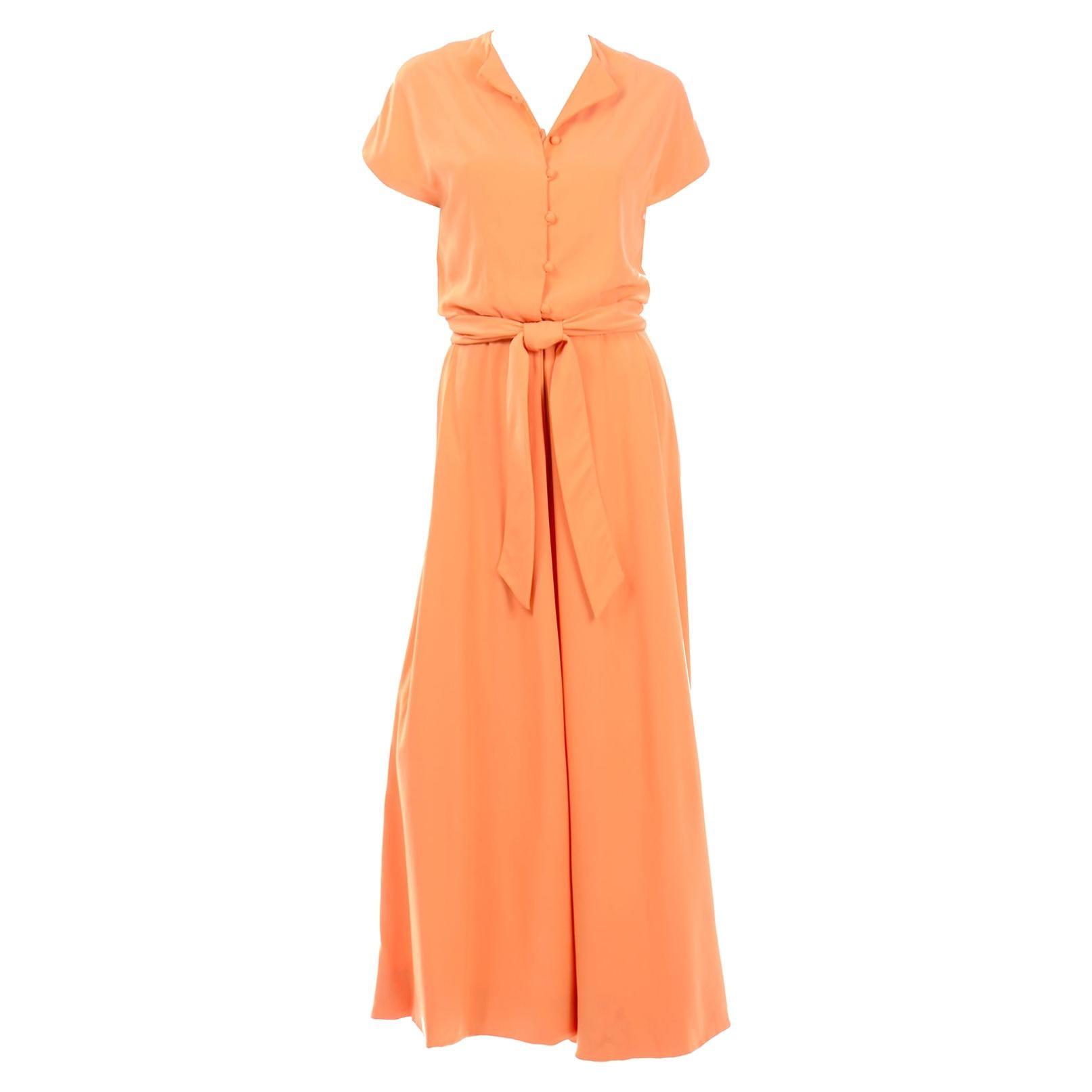 1960s Teal Traina Orange Vintage Palazzo Pant Jumpsuit W Belt
