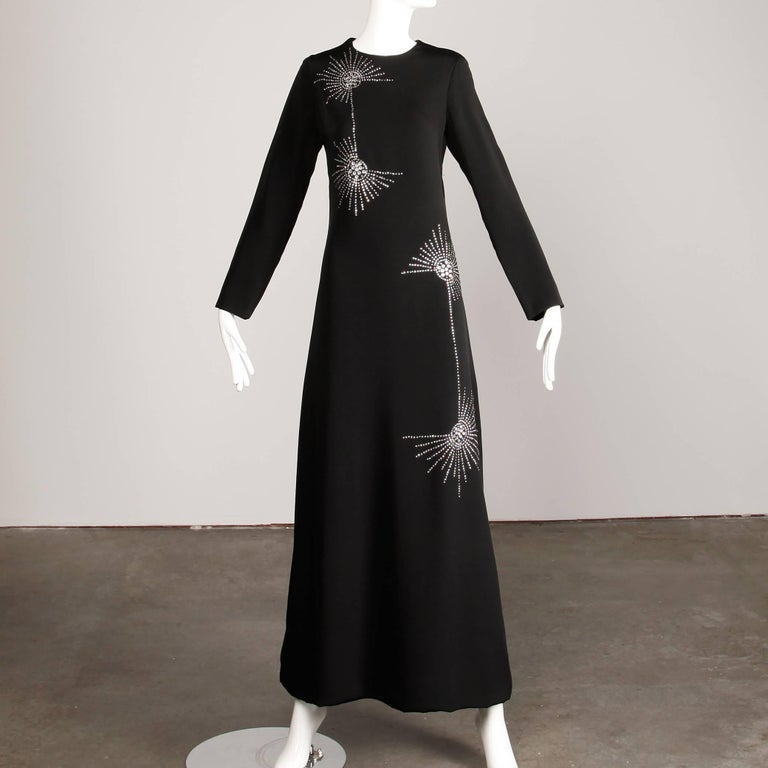 1960s Teal Traina Vintage Black Jersey Maxi Dress with Prong Set Rhinestones In Excellent Condition For Sale In Sparks, NV