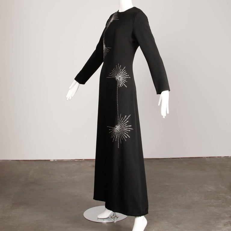 1960s Teal Traina Vintage Black Jersey Maxi Dress with Prong Set Rhinestones For Sale 1